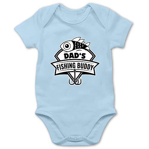 Sport Baby - Dad's Fishing Buddy - 1/3 Monate - Babyblau - Baby Fishing Body - BZ10 - Baby Body Kurzarm für Jungen und Mädchen