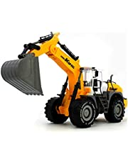 KING - 9998-21- Excavadora con Cubo y motor de fricción en color amarillo