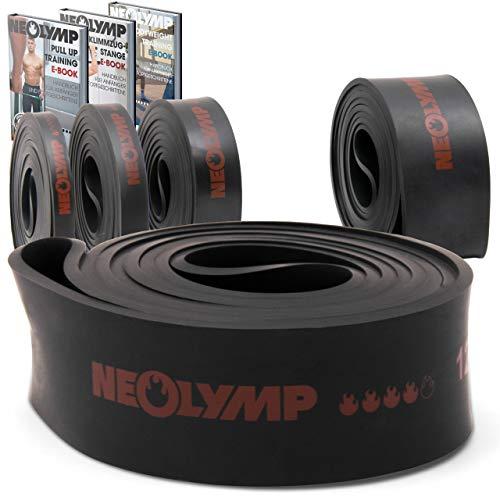 NEOLYMP Premium Pull Up Fitnessband| Perfekt für Muskelaufbau und Crossfit Freeletics Calisthenics | Klimmzugband Widerstandsband (Schwarz Stufe 4)