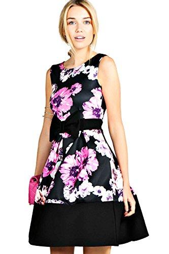 Black Leah Floreale Stampa Low Front Skater Dress - 14