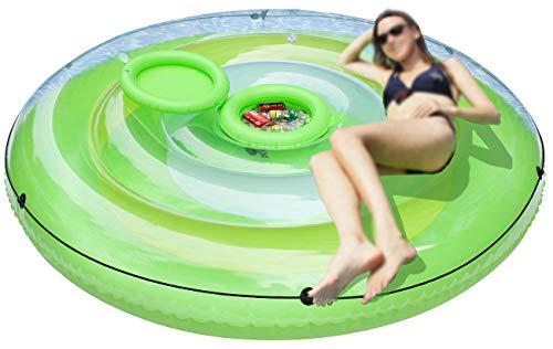 infactory Schwimminsel: Aufblasbare XXL-Badeinsel mit abnehmbarem Getränkekühler (Aufblasbare Insel)
