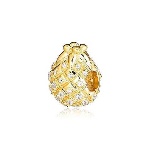 Pandora 925 colgante de plata esterlina Diy CKK cuentas de piña doradas encantos para la fabricación de joyas se adapta a la pulsera del abalorio
