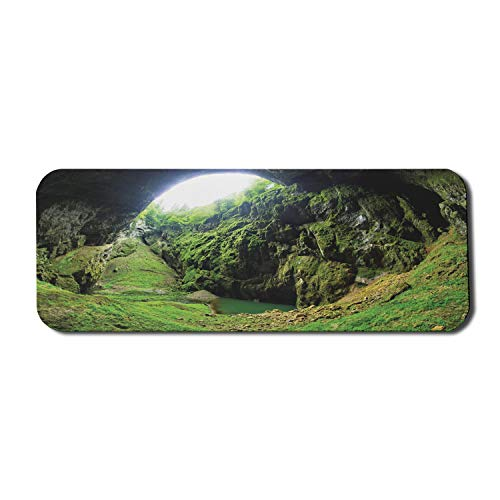 Ambesonne Natural Cave Mouse Pad for Computers, Punkevni Cave in Czech Republic European Geological Formation Myst Hole Landscape, Rectangle Non-Slip Rubber Gaming Mousepad Large, 31' x 12', Green