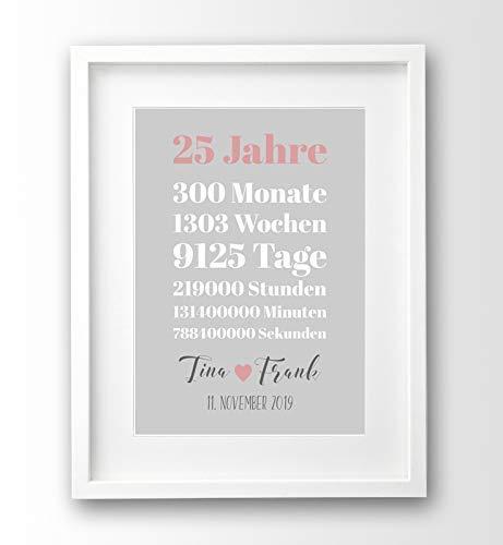 Geschenk-idee zum Hochzeitstag Bild mit personalisierten Namen und Datum Jahrestag Silberhochzeit A4 OHNE Rahmen