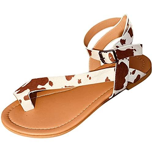 CHLDDHC Sandalias Mulas para Mujer Sandalias Planas Sandalias De Tiras Sandalias Romanas con Punta Abierta Zapatos De Playa Elegantes De Verano