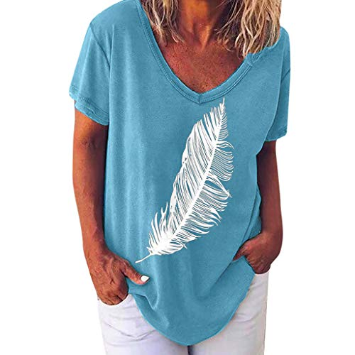 Shinehua T-shirt met korte mouwen voor dames, zomer, losse vleermuismouwen, T-shirt, tuniek-shirts, casual, V-hals, blouse, korte mouw, longshirt, tops, elegant, bloesshirts, veer, dierpatroon Large blauw