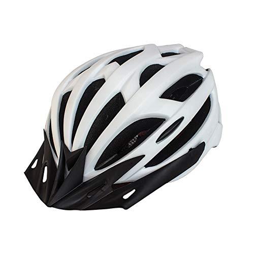 Casco de Bicicleta para Adulto Casco Ciclismo Ajustable Protección de Seguridad con Visera Desmontable y Luz LED Casco Bici Ligero Protector Unisex para MTB Carretera (Blanco, 54-61 cm)