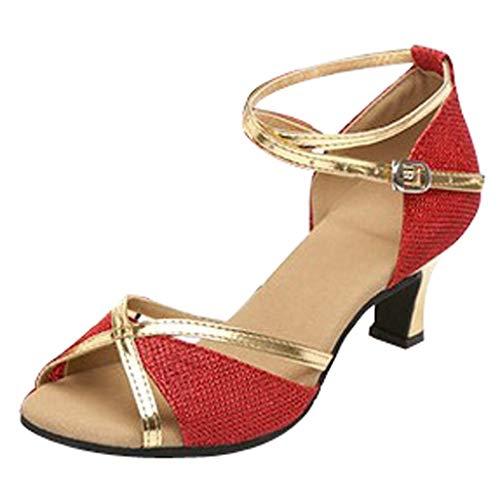 Janly Zapatos para Mujer, Zapatos de Baile para Baile de Salsa Latina para Baile de Baile, Rojo, 41