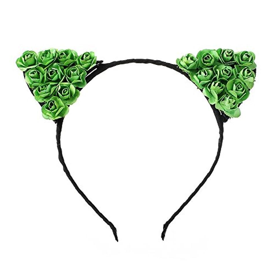 Tvoip Cat Ears Headband Hair Hoop - Small Devil Cat Headband Paper Flower Hair Bands Girls Kids Headdress (Green)