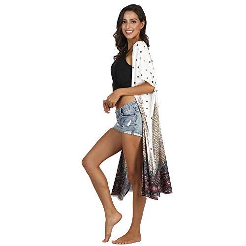 LANDENG Cárdigan para Mujer Vintage Floral Bikini Loose Shawl Kimono Cover Boho Pattern Summer Casual Swimsuit Beach Long Kimono Cover Up (Talla única),Blanco,One Size