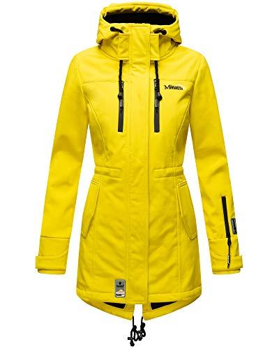 Marikoo Damen Softshell Jacke Winter Jacke Regenjacke Parka Kapuze ZMTZ (L, Gelb)
