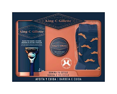 King C Gillette Pack Regalo para Hombre Bálsamo Suave Para Barba Para Hombre 100 ml, Máquina Afeitar Y Perfilar con 1 Recambio, Regalo Calcetines