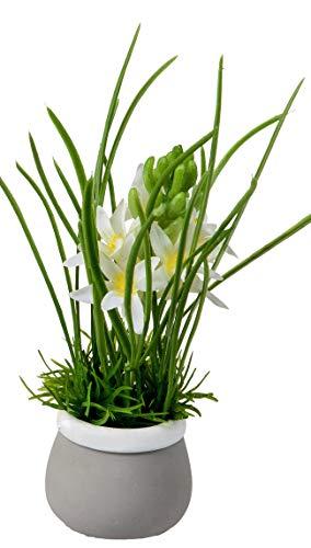 dekojohnson kunstmatig bloeiende hyacinten in pot decoratieve plant levensechte kunstbloemen plastic bloem groen wit 20cm paasdecoratie