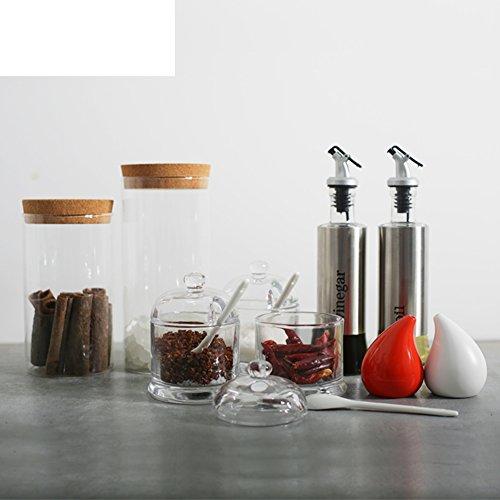 MYITIAN el Tarro de la Especia de Cocina Guarde Envase de almacenaje hermético de Cristal Botellas de la Especia Set de Regalo de Bote de Salsa de Soja vinagre Aceite-A