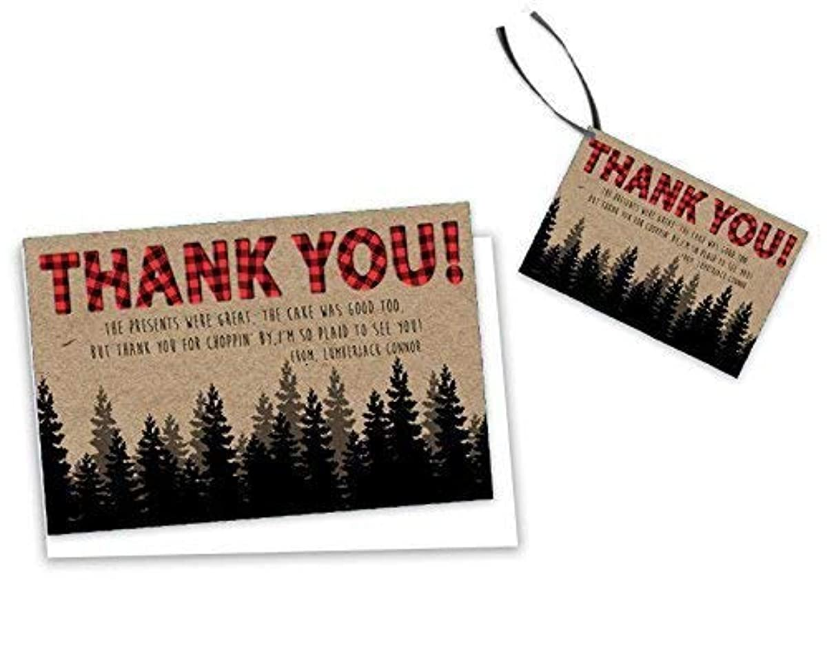 Lumberjack Thank You Cards Plaid Party Tags 1st Birthday Baby Shower