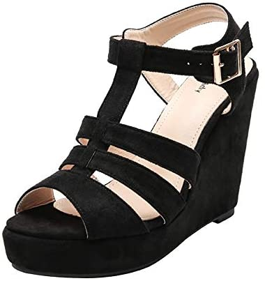 Mila Lady (ALISA)) Ankle Strappy Zipper On the Back Open Toe Platform Wedges Heeled Sandals