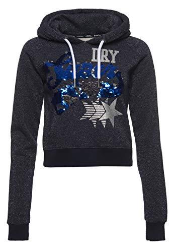 Superdry Damen Boutique Star Hoodie Marineblau Silber Glitzer 38
