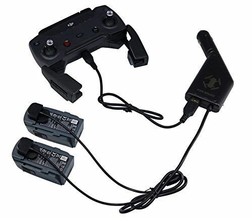 DJI Spark Cargador de Coche, 3 en 1 Adaptador de cargador de coche portátil para 2 DJI Batería de vuelo Spark + 1 mando a distancia, interfaz USB para carga de teléfono inteligente