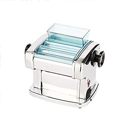 Heavy Duty Steel Construction Pasta Machine Electric Pasta Maker Machine Stainless Steel Pasta Maker w 2 Blades and 9 Thickness Settings All in One Adjustable ( Color : Silver , Size : 25X20X22.5CM )