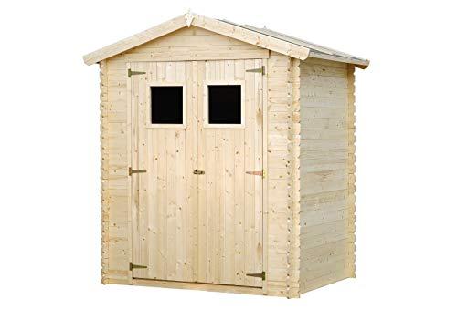 TIMBELA Holzhaus Gartenhaus M367 - Gartenschuppen Holz B196xL136xH218 cm/ 1.98 m2 Lagerschuppen für Garten - Fahrrad Schuppen - Wasserfestes Dach