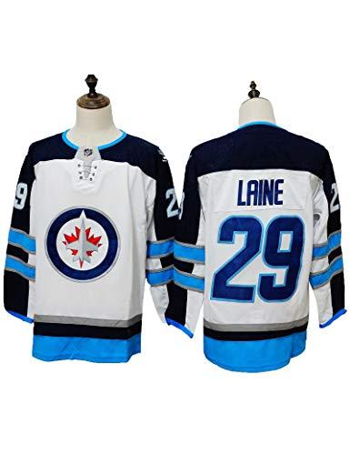 FDSNFV Patrik Laine#29 Eishockey Trikots Jersey NHL Herren Sweatshirts Atmungsaktiv Long Sleeve T-Shirt Top,Dunkelblau, Weiß, Blau