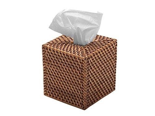 KOUBOO 1030017 Square Rattan Tissue Box Cover, 5.5' x 5.5' x 5.75', Honey Brown