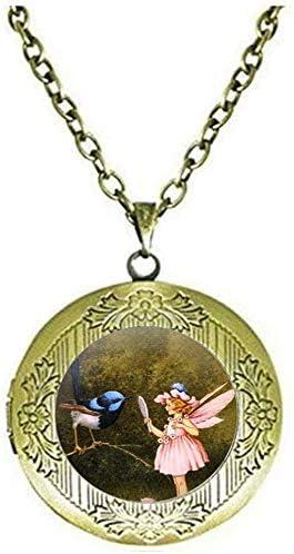 Vintage Bird with Fairy Locket Necklace Antique Pink Fairy Charm Art Photo Jewelry Handmade Jewelry