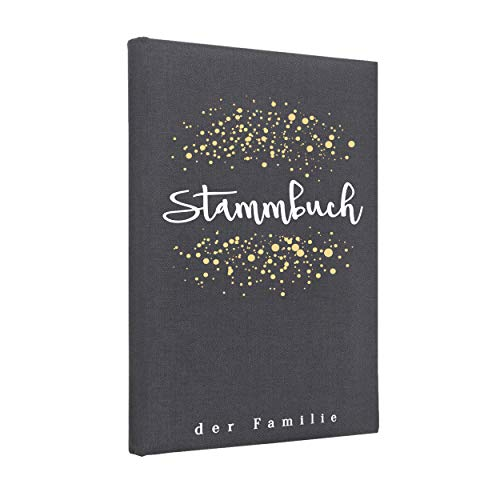 Hochzeitideal Stammbuch der Familie, Familienstammbuch 'Dots' aus Buchbinderleinen (Grau)