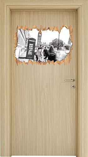 UYEDSR Pegatinas de Pared Cabina de teléfono típica de Londres Arte Efecto carbón Abertura de Madera con Aspecto 3D Adhesivo de Pared o Puerta Adhesivo de Pared Decoración de Pared 62x42cm