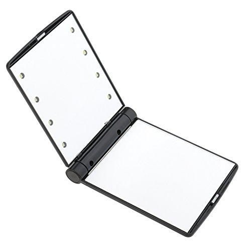 Tragbarer 8 LED-Beleuchtung Taschenspiegel Zweiseitiger Kosmetikspiegel, Spiegel für unterwegs, Klappbarer Kompaktspiegel, Reise Makeup Spiegel - Schwarz