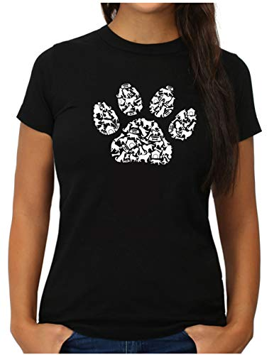 OM3® Dog Paws T-Shirt | Damen | Hundepfote Verschiedene Hunde Rassen | S, Schwarz