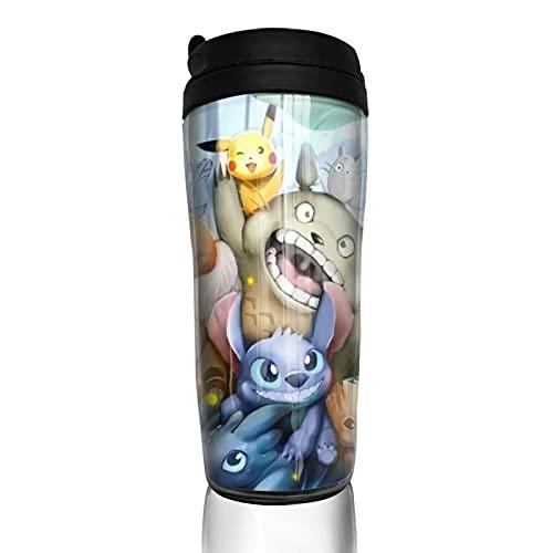 Anime My Totoro Stitch Groot Taza de café reutilizable aislada taza de viaje para bebidas calientes frías y calientes té y cerveza