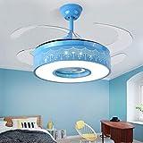 52 pulgadas sala de estar niños dormitorio decoración Led ventiladores de techo con luces de control remoto restaurante invisible comedor de techo ventilador de luz Blue