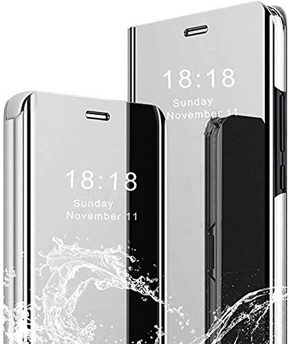 Hülle für Samsung Galaxy S20 FE 5G/S20 Lite Spiegel Handyhülle, Samsung Galaxy S20 FE Flip Schutzhülle Clear View Ledertasche Handy Mirror Standfunktion Tasche 360 Grad Stoßfest Hülle Cover, Silber
