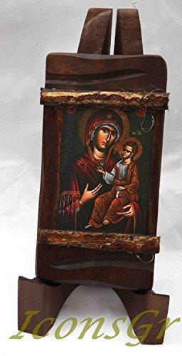 IconsGr Ícono Cristiano ortodoxo Griego de Jesús Cristo y de La Virgen, de Madera, Hecho a Mano / MP3_1
