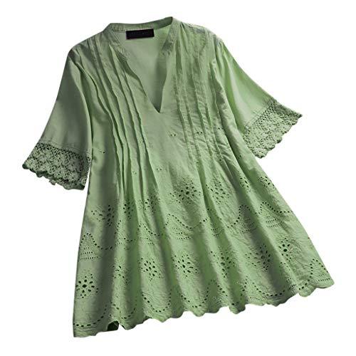 MRULIC T-Shirt Damen Tops Bluse Gedruckt Kurzarm Casual Tunika Oberteile Dreifacher Farbblock Streifen Frühling Sommer Shirt Frauen Locker Beiläufig Tanktops(B-Grün,EU-48/CN-4XL)