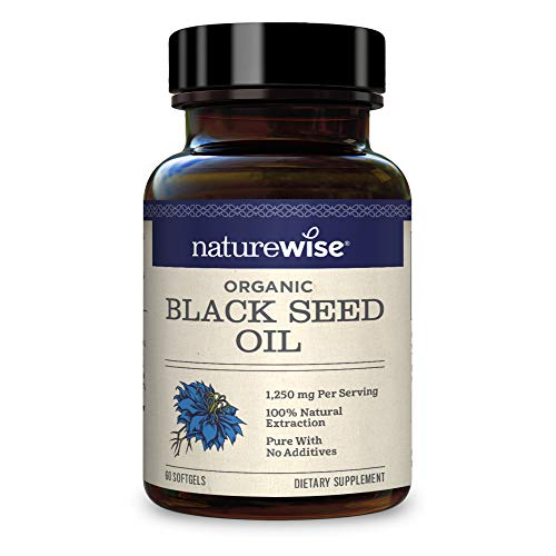 NatureWise Organic Black Seed Oil - 1250mg Per Serving | 100% Natural Extraction Pure with No Additives | Super Antioxidant Formula for a Healthy Inflammatory Response [1 Month Supply - 60 Count]