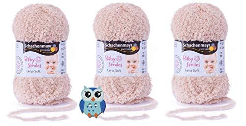 3x25 Gramm Schachenmayr Baby Smiles Lenja Soft Nr. 1005 Beige aus 100% Polyester Speichelecht, Schadstoffgeprüft, Hautfreundlich + 1 Eulen Knopf Holz zum aufnähen
