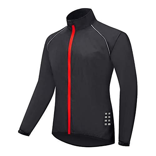 Beylore Fahrradjacke Herren Damen Sommer Wasserdicht Atmungsaktiv Reflektierend Winddicht Lang Fahhrad Jacke Sportjacke Laufjacke Fahrradbekleidung,Schwarz,XL