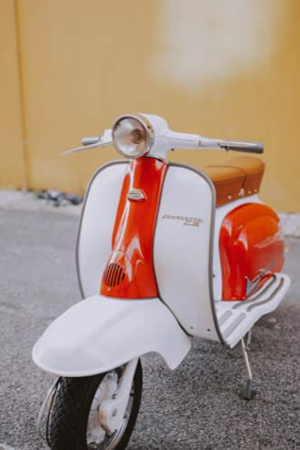 Red and White Lambretta: Italian Motor Scooter Photograph Cover, Lined Notebook / Journal