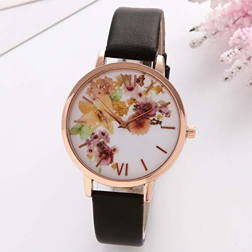 Exquisito, hermoso, decente, novedoso y único. Relojes de mujer rosa loto esfera delgada correa para damas reloj de cuero suave estampado patrón casual damas reloj de cuarzo reloj damas chicas casual