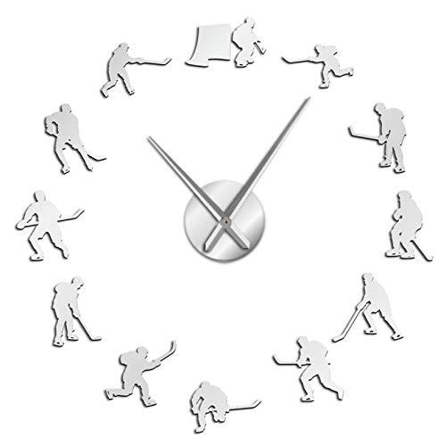 yage Hockey Colgante de Pared Deporte Pegatinas de Arte de Pared DIY Reloj de Pared Grande Jugadores de Hockey sobre Hielo decoración del hogar Reloj de Pared sin Marco Regalo para Hombre