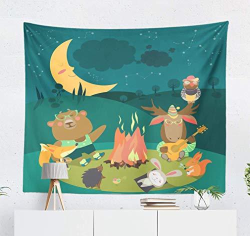 Duanrest Wandteppich,Tiere Eichhörnchen Cartoon Freunde Camp Gitarre Nachteule Feuer Mond Wandteppich für zu Hause 229x152cm