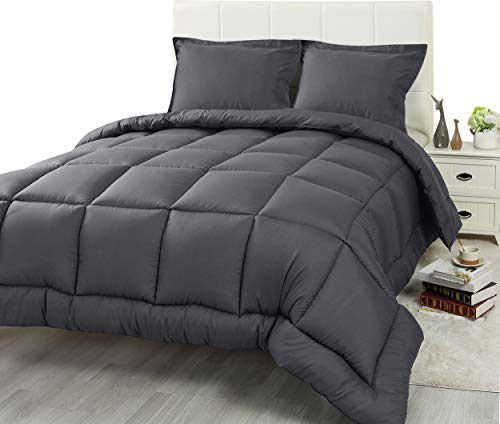 Utopia Bedding 3 Piece Comforter Set (Queen/Full, Grey) with 2 Pillow Shams - Luxurious Brushed Microfiber - Down Alternative Comforter - Soft and Comfortable - Machine Washable