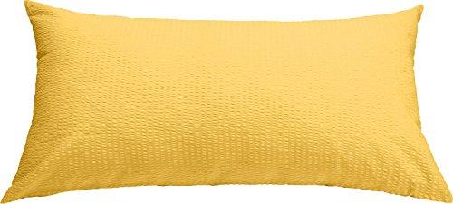 Erwin Müller Zusatz-Kissenbezug, Kissenhülle Seersucker gelb, Größe 40x80 cm - luftig leicht, bügelfrei, atmungsaktiv, mit Marken-Reißverschluss, 100% Baumwolle (weitere Farben, Größen)
