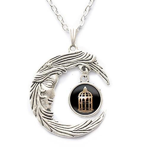 Collar colgante de jaula de pájaro collar de impresión de cúpula de cristal y colgante joyería de cristal, collar de pájaro, PU266