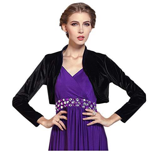 MedeShe Women Long Sleeve Velvet Open Front Cardigan Cropped Bolero Shrug (Black, S)