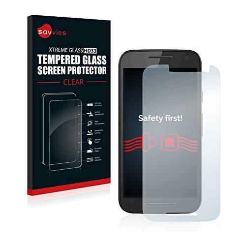 Savvies Panzerglas kompatibel mit Motorola Moto G3 / G 3. Generation - Echt-Glas, 9H Festigkeit, Anti-Fingerprint