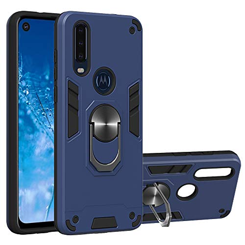 Case for Motorola One Action/Moto P40 Power, Candy House Hybrid Case Heavy Duty Soft Hard Dual Layer Shock Resistant with 360 Metal Rotating Ring Kickstand Protective Cover (Dark Blue)