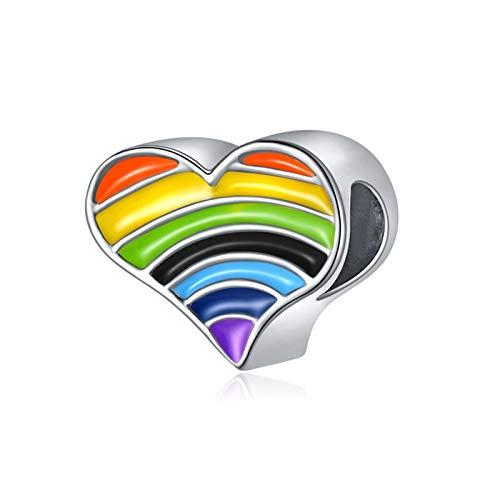 LILANG Pulsera de joyería Pandora 925, Esmalte de Color Caramelo Natural, Corazones de arcoíris, Abalorios, Collares, barati